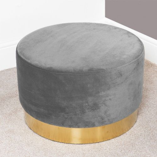 Cool Grey Velvet Round Footstool With Gold Trim